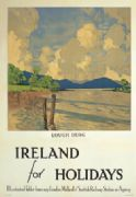 Irish Railway Travel Art poster, Lough Derg, County Munster,  Ireland by Paul Henry